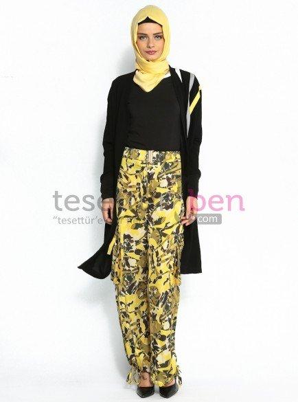 Sarı-Yeşil Desenli Pantolon