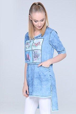 Tozlu Giyim Ön Baskılı Mavi Tunik