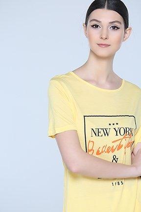Tozlu Giyim Ön Yazılı Sarı Tunik