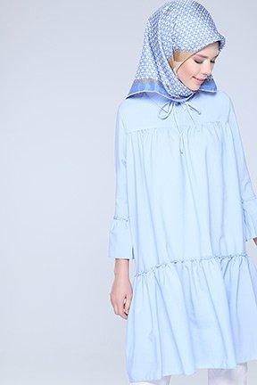 Tozlu Giyim İki Düğmeli Mavi Tunik