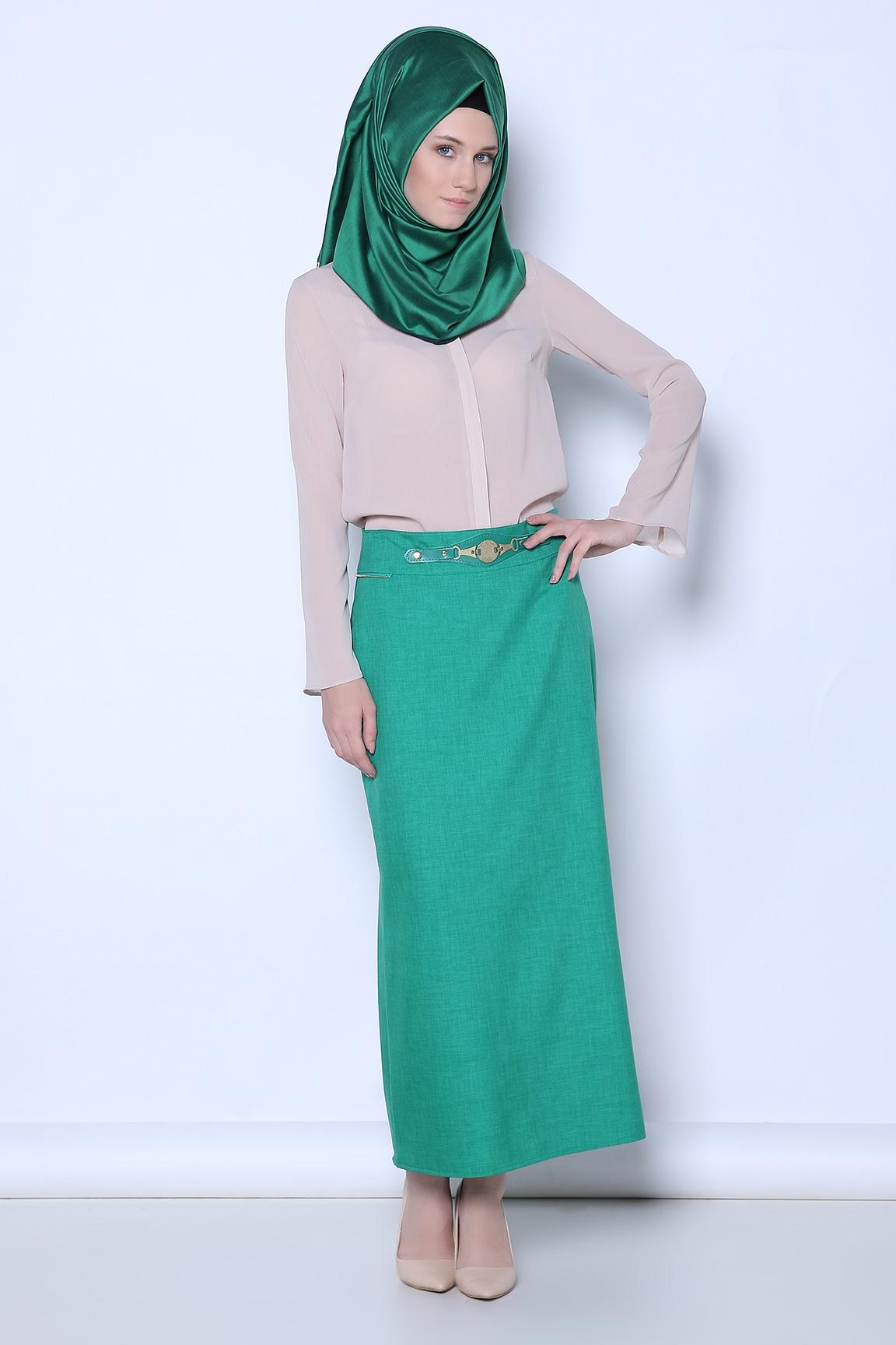 Tozlu Giyim Bel Detaylı Yeşil Etek