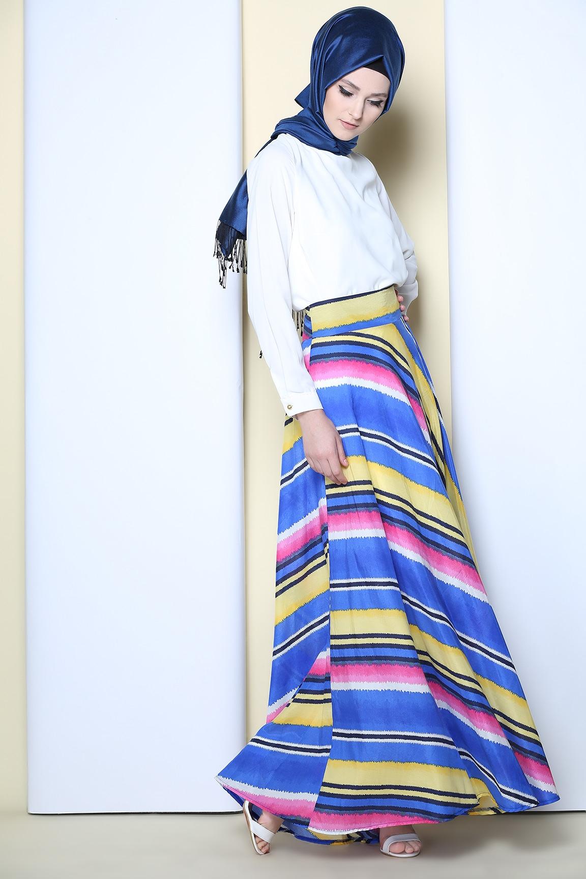 Tozlu Giyim Desenli Saks Mavisi Etek