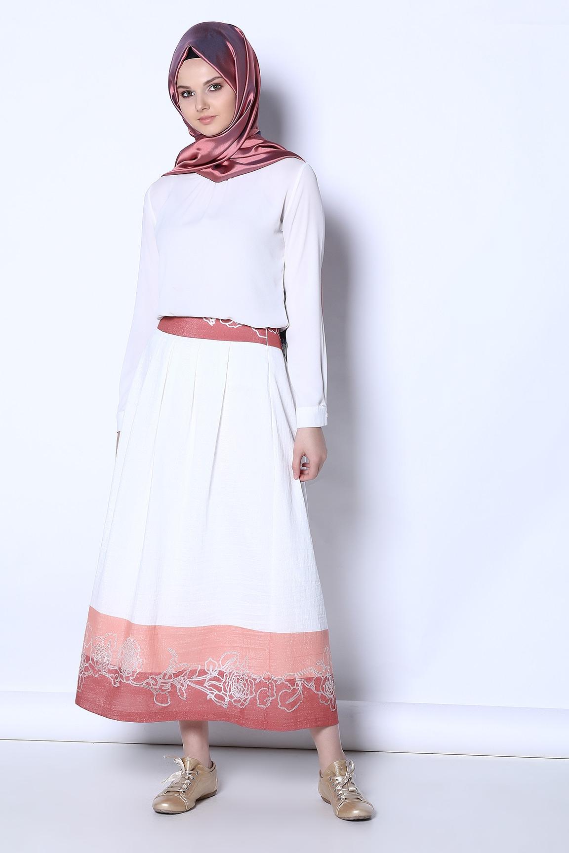 Tozlu Giyim Desenli Somon Etek