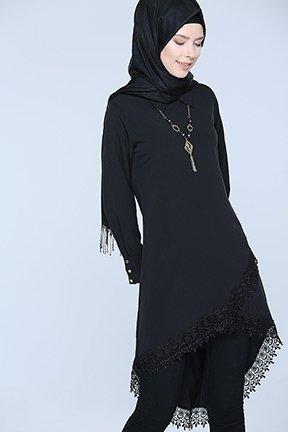 Tozlu Giyim Güpürlü Siyah Tunik