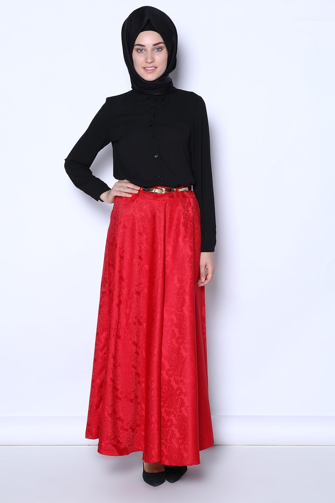 Tozlu Giyim Kemerli Desenli Kırmızı Etek