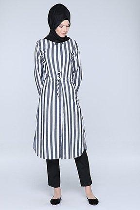 Tozlu Giyim Siyah Çizgili Siyah Tunik