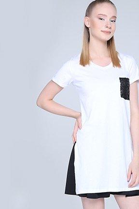 Tozlu Giyim Tek Cepli Beyaz Tunik