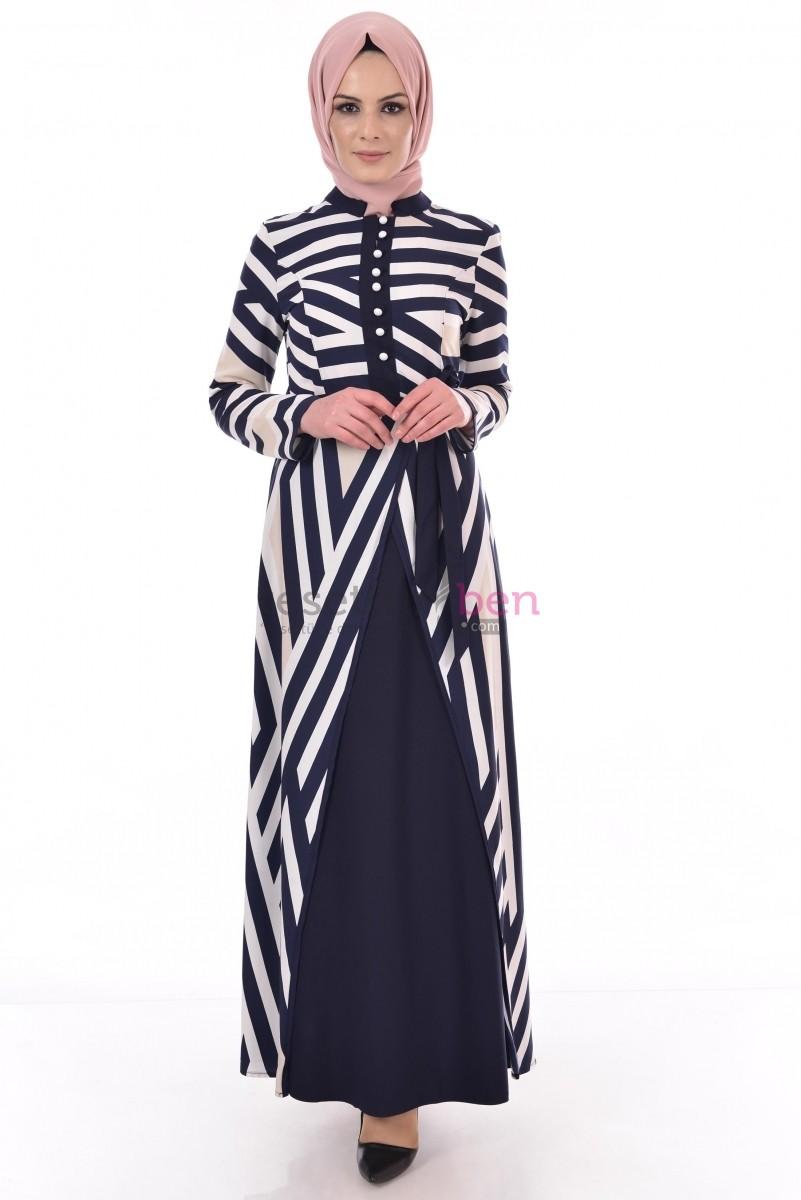 Bng Çizgi Desenli Krem Tesettür Elbise