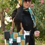 Evitare Petrol Yeşili Siyah Kare Desenli Eşarp ve Çanta Kombini
