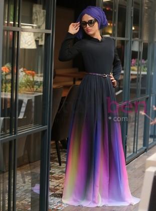 Gökkuşağı Abiye Elbise Siyah Selma Sarı Design
