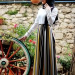 Gamze Polat Çizgili Elbise Sarı