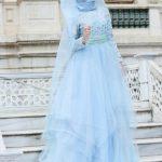 Jakarlı Abiye Elbise Mavi Gamze Özkul