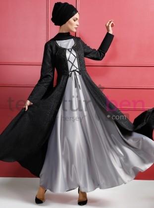 Kaftanlı Abiye Elbise Gri Siyah Dersaadet