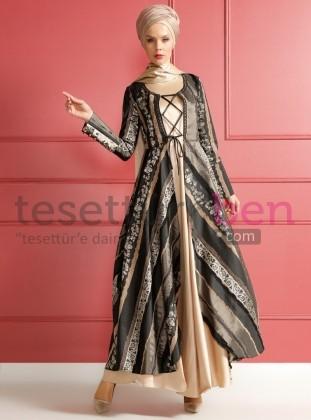 Kaftanlı Abiye Elbise Siyah Camel Dersaadet