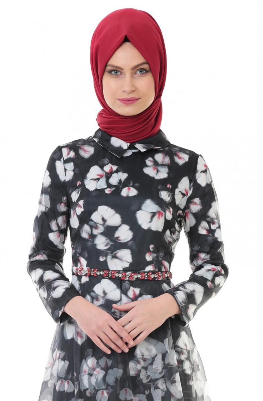 Kayra 3 Boyutlu Abiye Elbise Siyah