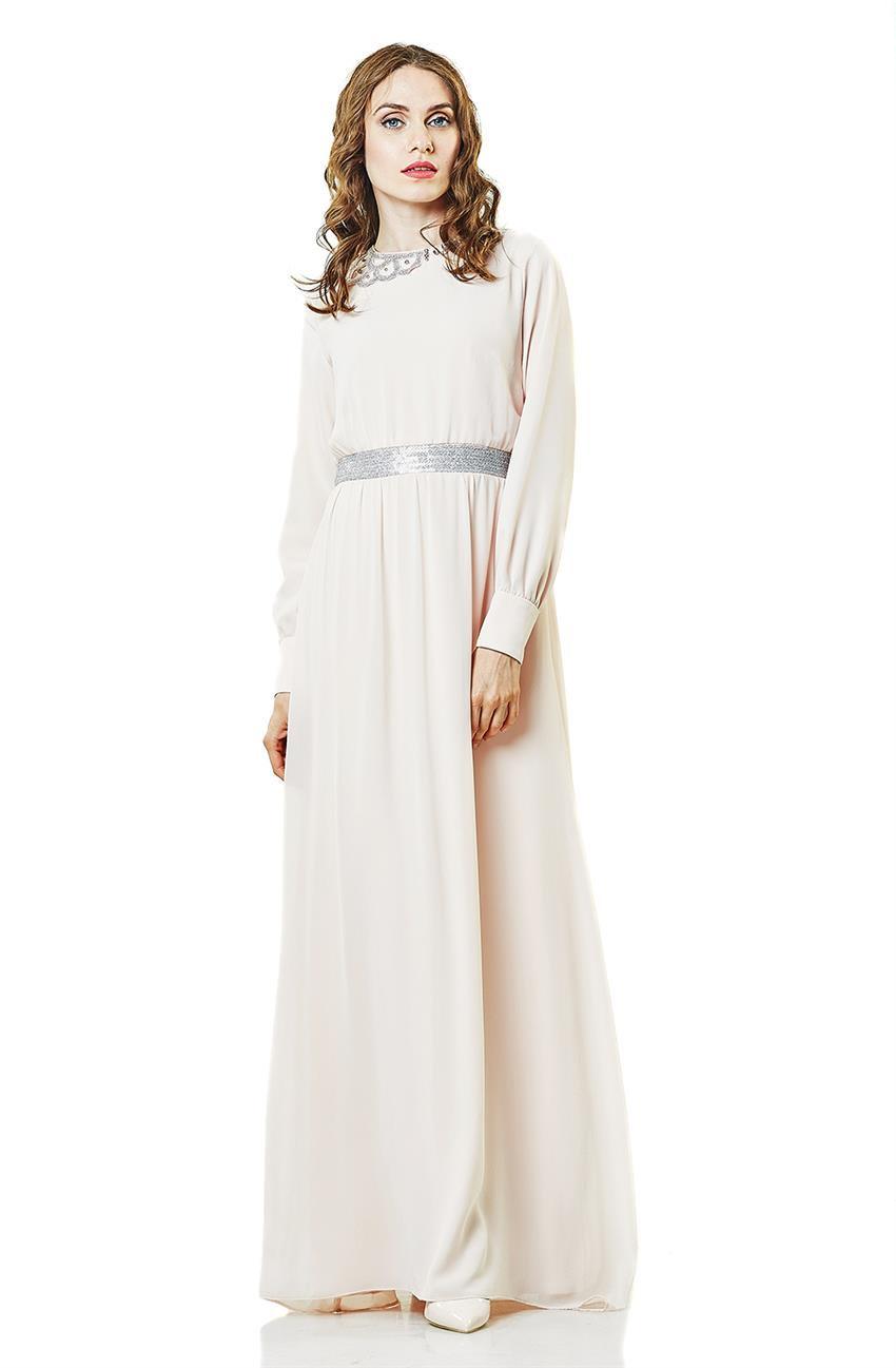 Kayra Pul Payetli Abiye Elbise Pudra