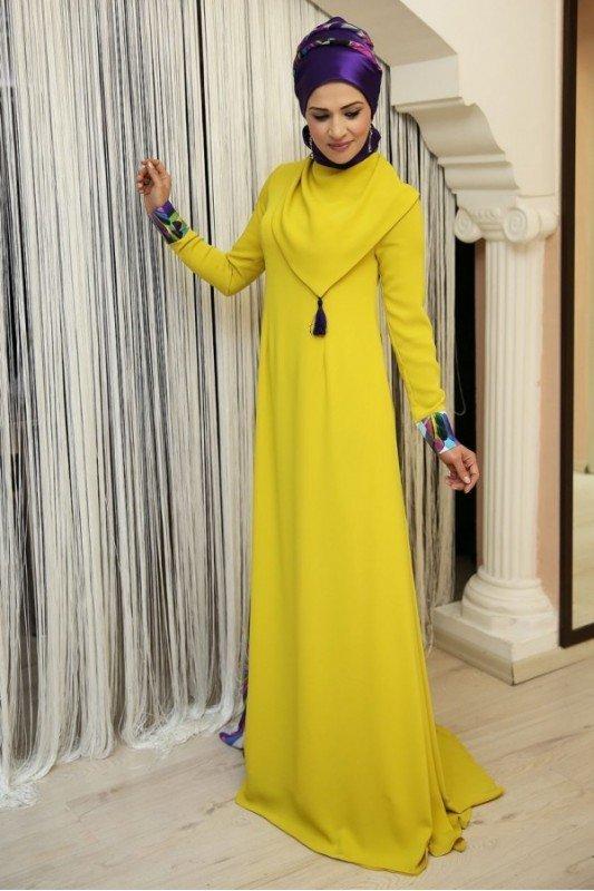 Nilüfer Kamacıoğlu Oksit Sarısı Abaya Elbise
