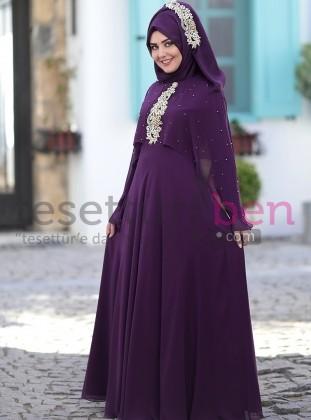 Nur Abiye Elbise Mürdüm SomFashion