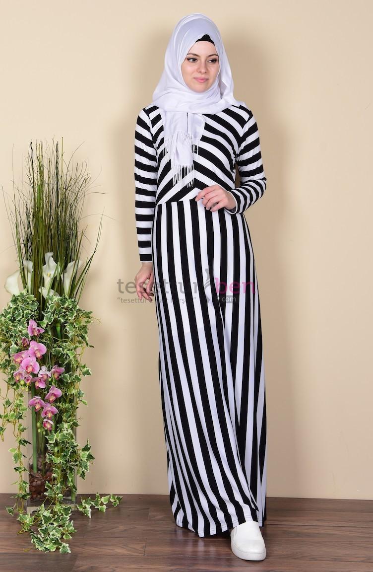 Sefa Merve Çizgi Desenli Elbise Siyah