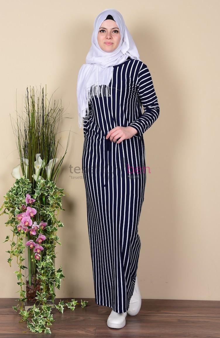 Sefa Merve Çizgili Elbise Lacivert