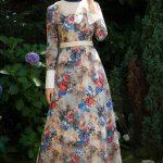 Selviler Zırh Detaylı Çiçekli Mavi Vintage Elbise