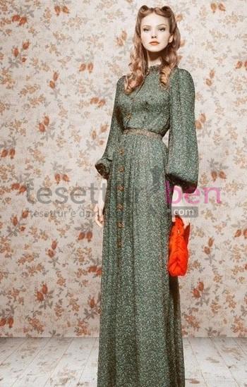 Vintage Tesettür Elbise Yeşil