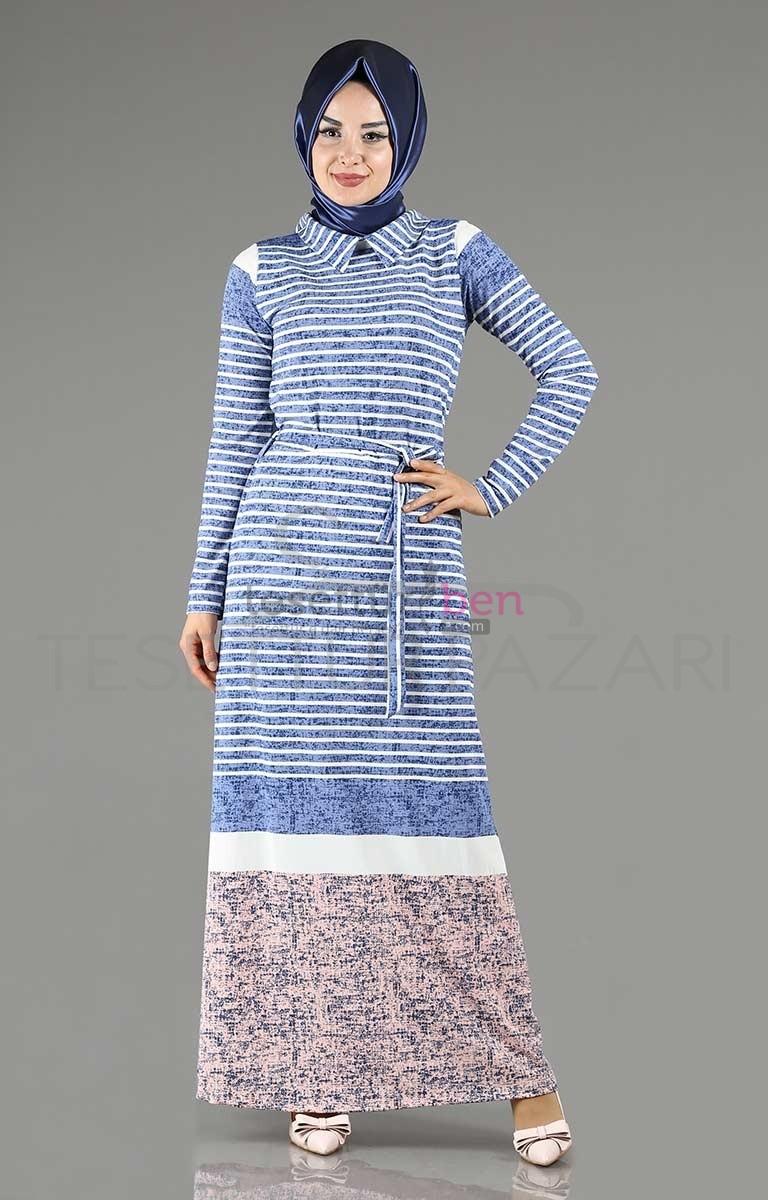 Vtn Butik Çizgili Tesettür Elbise