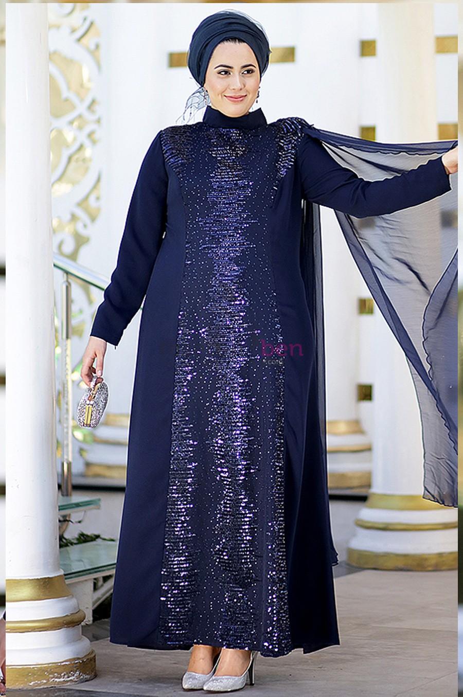 Büyük Beden Tesettür Abiye Elbise Modelleri