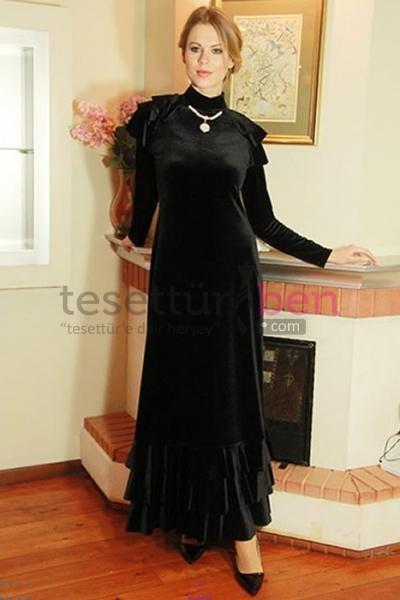 By Anna Siyah Elbise Tesettür Giyim Modelleri