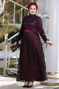 Gül Desenli - Büyük Beden Elbise