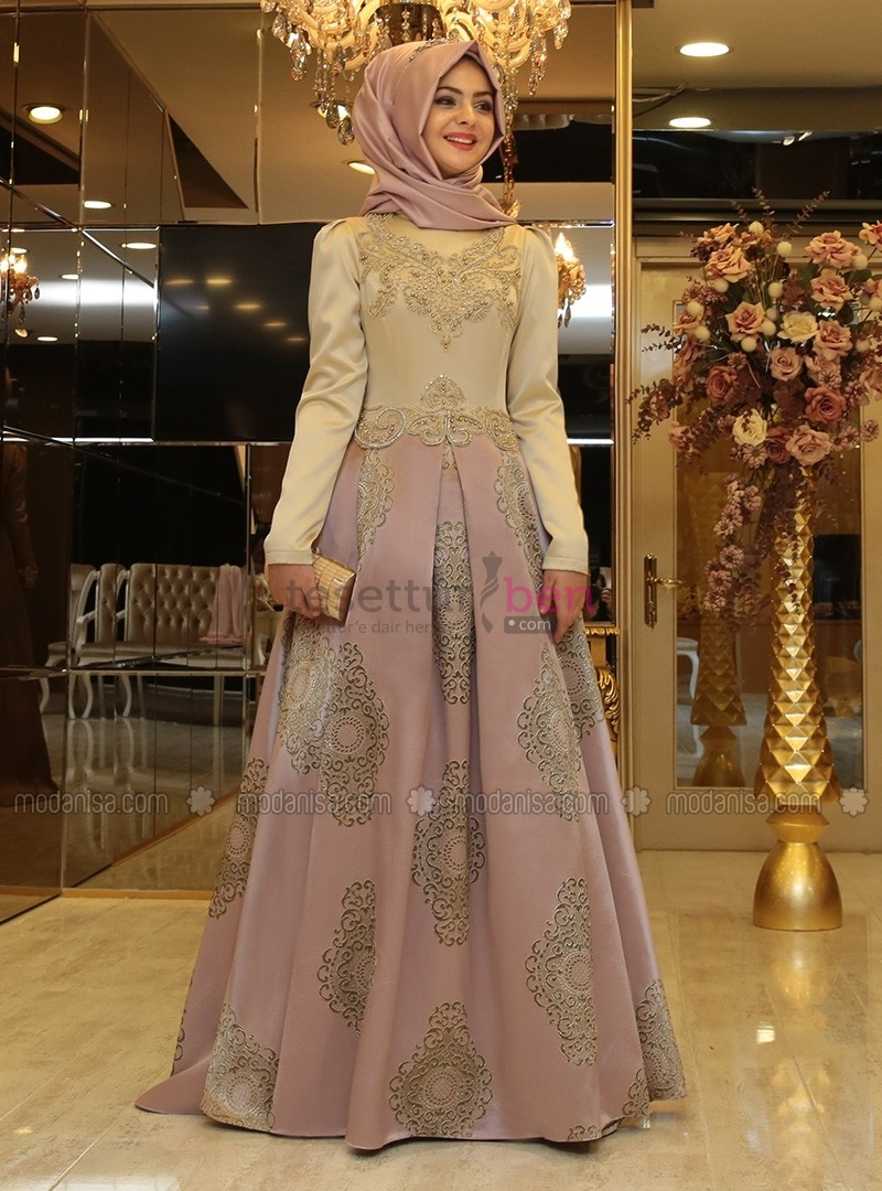 Harem Abiye Elbise - Pudra - Pınar Şems
