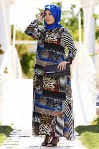 Kolaj Desenli Şifon Tesettür Elbise