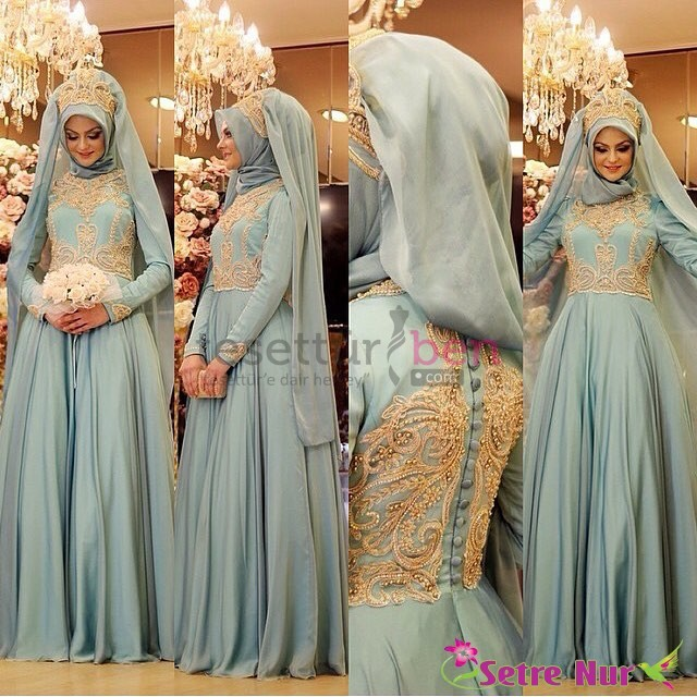 Pınar Şems Tesettür abiye modelleri mavi ton